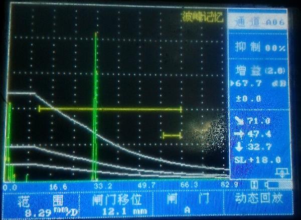 K2斜探头扫查反射波最大波幅