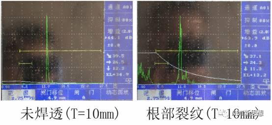 超声检测根部未焊透和根部裂纹波形