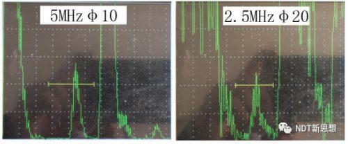 超声检测不同频率的灵敏度对比